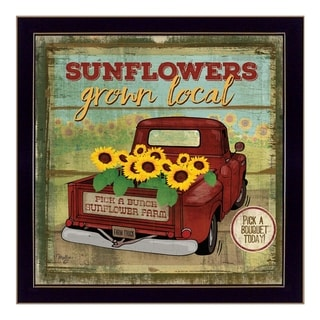 """""""Sunflowers From the Farm"""" By Mollie B., Printed Wall Art, Ready To Hang Framed Poster, Black Frame"""