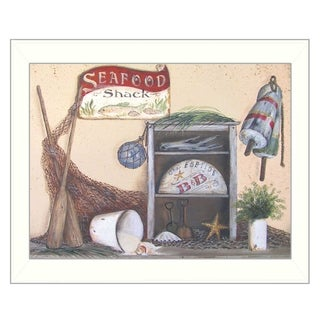 """Seafood Shack"" By Pam Britton, Printed Wall Art, Ready To Hang Framed Poster, White Frame"