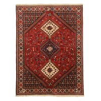 Hand-knotted Wool Red Traditional Geometric Yalameh Rug - 5' x 6' 7