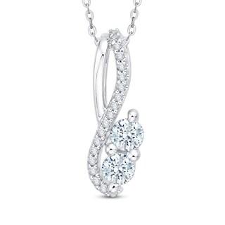 14K White Gold 1/2ct TDW 2-Stone Diamond Pendant (G-H, I2-I3)