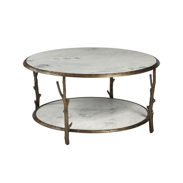Antique Br Finish Marble Coffee Table