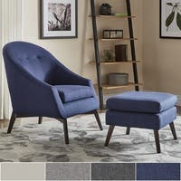 Paige Mid-Century Linen Accent Chair and Ottoman by iNSPIRE Q Modern