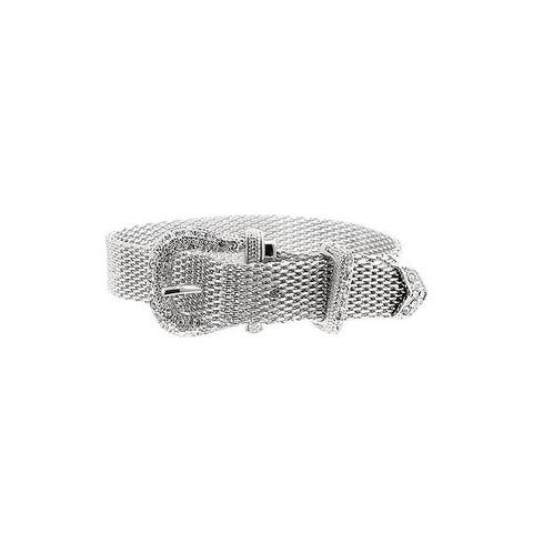 Silvertone Finish Buckle Bracelet - Clear