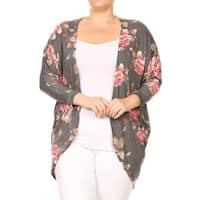 Women's Plus Size Floral Pattern Loose Fit Cardigan