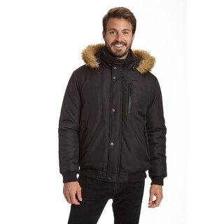Excelled Men's Puffer Jacket with Removable Faux Fur Trim Hood