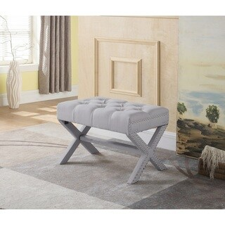Chic Home Gaia Neo-traditional Beige Tufted Linen X Ottoman with Polished Nailhead
