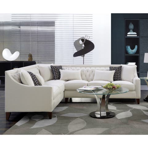 Chic Home Fulla Modern Contemporary Linen Tufted Backrest Left-facing Sectional Sofa