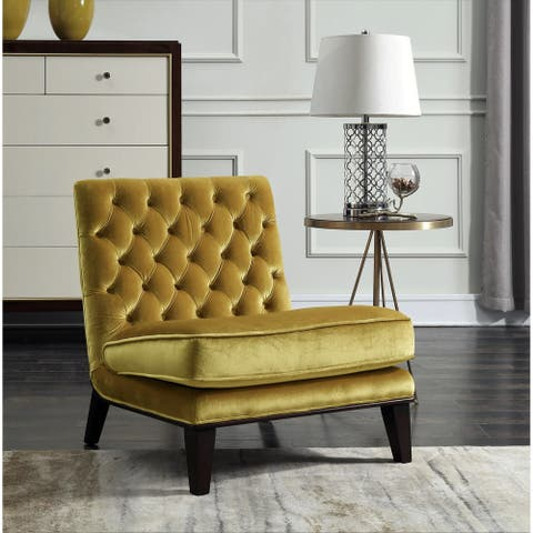 Chic Home Hector Gold Upholstered Velvet Modern Neo Traditional Tufted Slipper Accent Chair