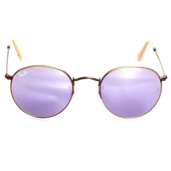 a86582ebeaa Ray Ban Round RB3447 Unisex Bronze Copper Frame Lilac Mirror Lenses  Sunglasses