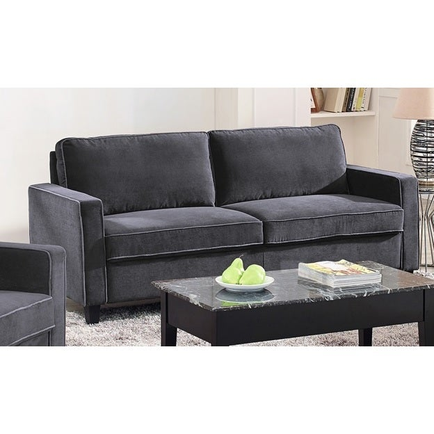 Lifestyle Solutions Grayson Grey Microfiber Sofa (Dark Gr...