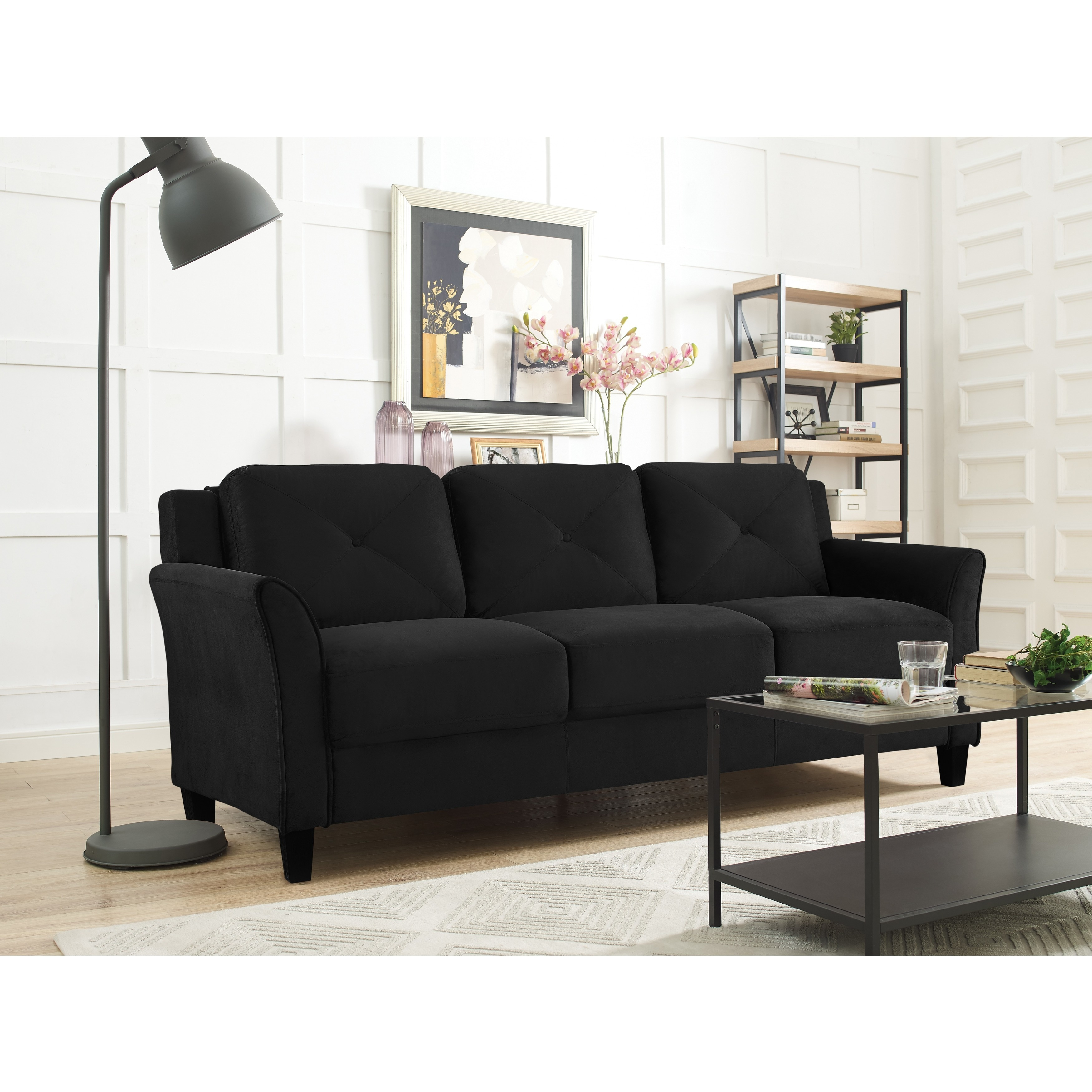 Lifestyle Solutions Harvard Microfiber Sofa (Black) (Foam)