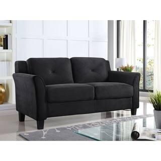 living room loveseat. Lifestyle Solutions Harvard Microfiber Wood Loveseat Living Room Furniture For Less  Overstock com