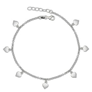 Italian Sterling Silver 10-Inch Dangling Heart Disc Rolo Anklet