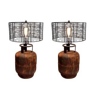 Pair of Industrial Tank Lamps