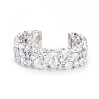 Bejeweled Cubic Zirconia Cuff - CLEAR
