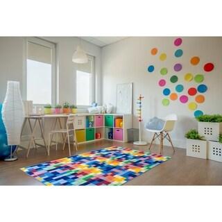 """Kids Modern Bright Boxes Non-Slip Multi Area Rug (7' 10"""" x 10') - 7'10"""" x 10'"""