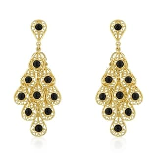 Buy chandelier cubic zirconia earrings online at overstock our onyx filigree chandelier earrings black mozeypictures Image collections