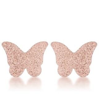 Jess Glittery Butterfly Rose Gold Stud Earrings