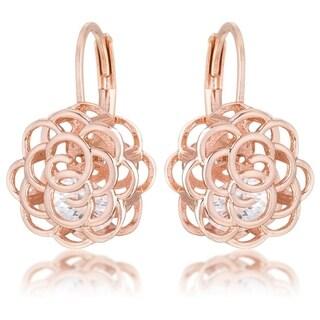 Maya 1.5ct CZ Rose Gold Rose Drop Earrings - CLEAR