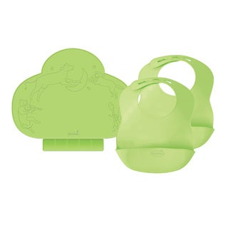 Summer Infant Tiny Diner Portable Placemat with 2 Bibbity Portable Bibs, Green