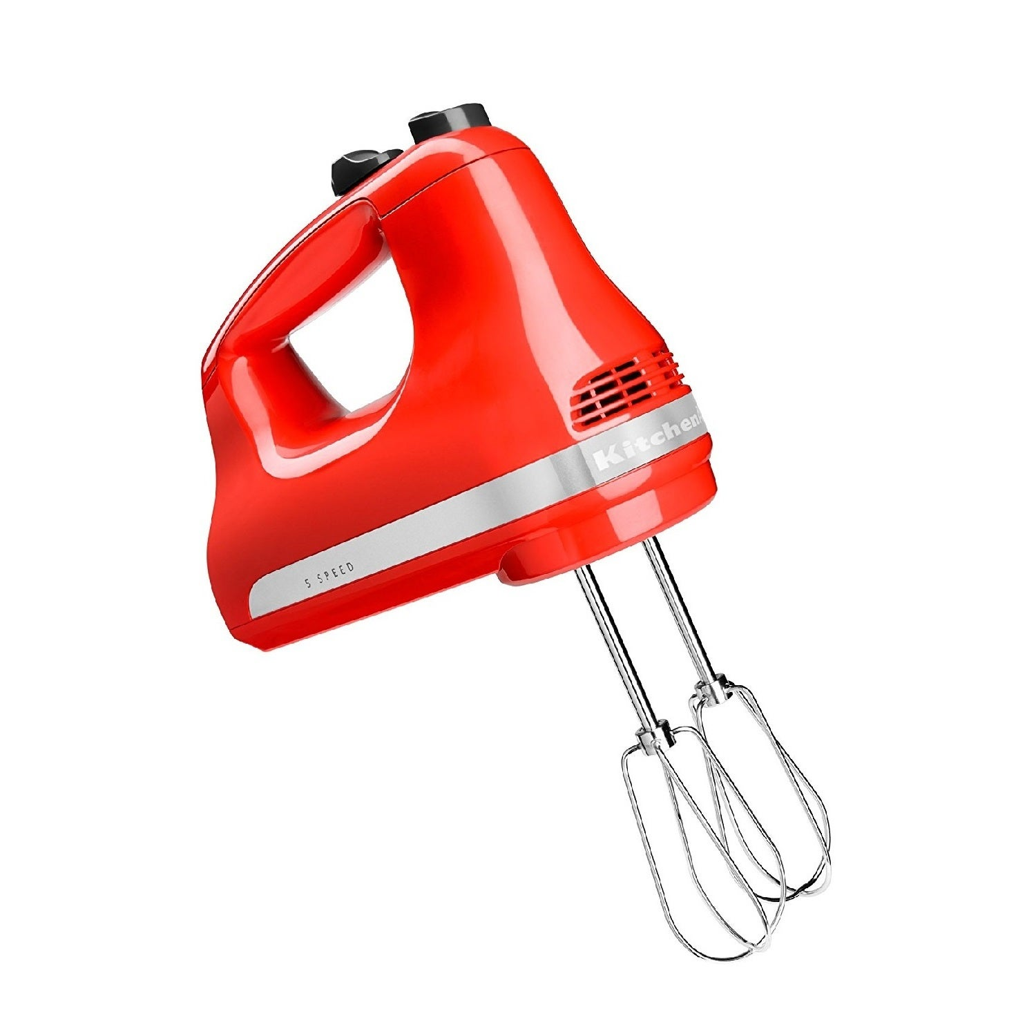 KitchenAid 5-Speed Hand Mixer, Hot Sauce, Silver stainles...
