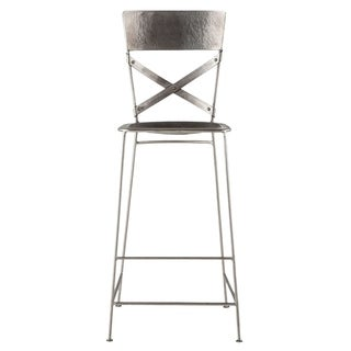 Reclaimed Antique Nickel Hammered Iron Barstool by World Interiors