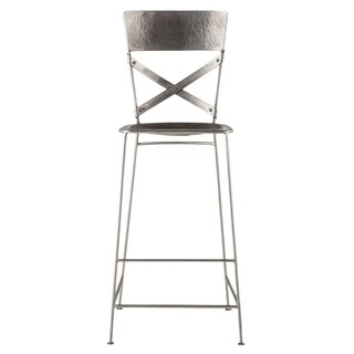 World Interiors Reclaimed Antique Nickel Hammered Iron Barstool