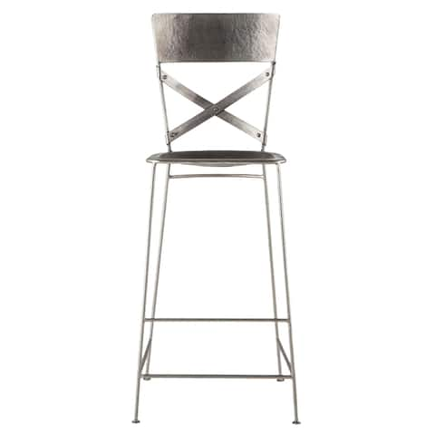 Reclaimed Antique Nickel Hammered Iron Barstool - N/A