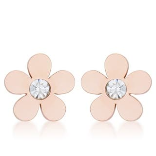 Daisy 0.3ct CZ Rose Gold Stainless Steel Flower Stud Earrings - CLEAR|https://ak1.ostkcdn.com/images/products/17126556/P23393986.jpg?impolicy=medium