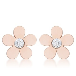 Daisy 0.3ct CZ Rose Gold Stainless Steel Flower Stud Earrings - CLEAR