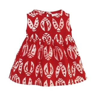 Hand Batiked Cotton Babies Sundress - Red Bugs (Ghana)