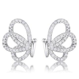 .45 Ct CZ Butterfly Stud Earrings - CLEAR
