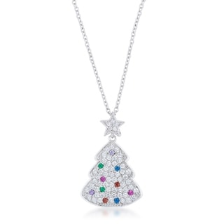 Multicolor Christmas Tree Drop Necklace - clear
