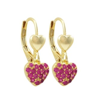 Luxiro Gold Finish Pink Cubic Zirconia Children's Dangle Earrings