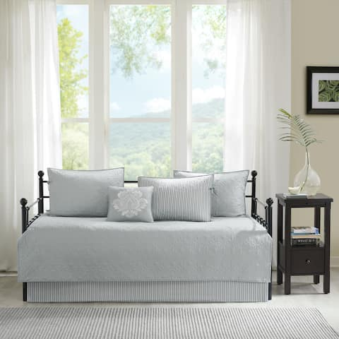 Madison Park Mansfield Grey Solid Reversible 6-piece Daybed Set