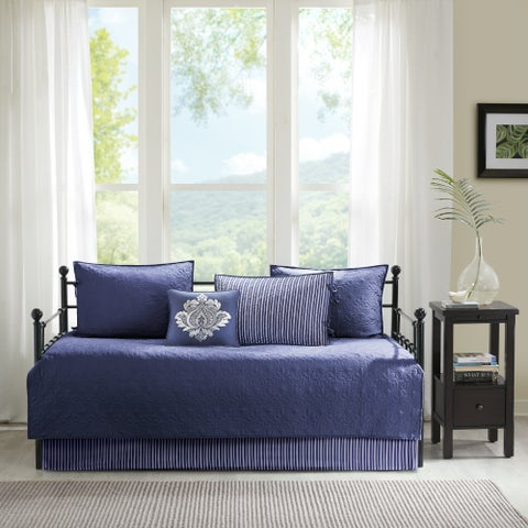 Madison Park Mansfield Navy Solid Reversible 6-piece Daybed Set