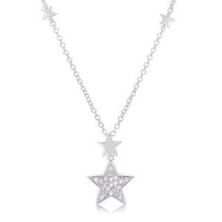 .32Ct Rhodium Star Necklace with Shimmering CZ - CLEAR