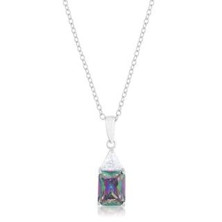 Classic Mystic Cubic Zirconia Rhodium Drop Necklace - clear