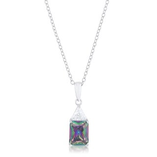 Classic Mystic Cubic Zirconia Rhodium Drop Necklace - clear