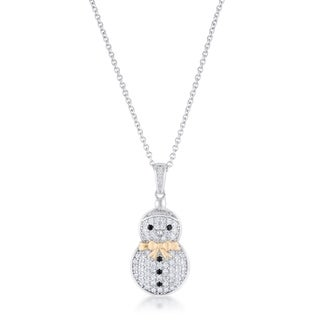 .35 Ct Cz Two-Tone Snowman Pave Holiday Pendant - Clear