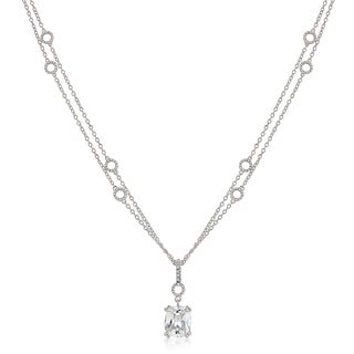 Solitaire Pendant on Double Chain - CLEAR