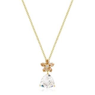 Goldtone Trillion Floral Pendant - champagne clear