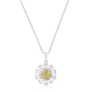 Silvertone Purple and Yellow Cubic Zirconia Floral Pendant - purple