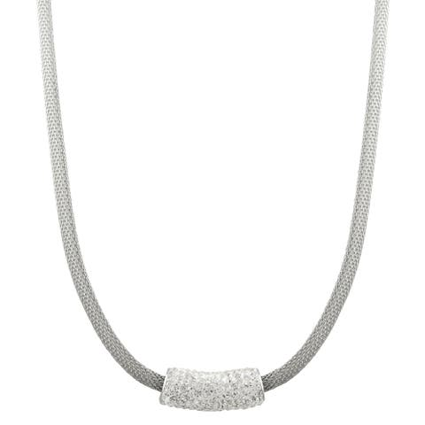 Luxiro White Crystal Mesh Necklace