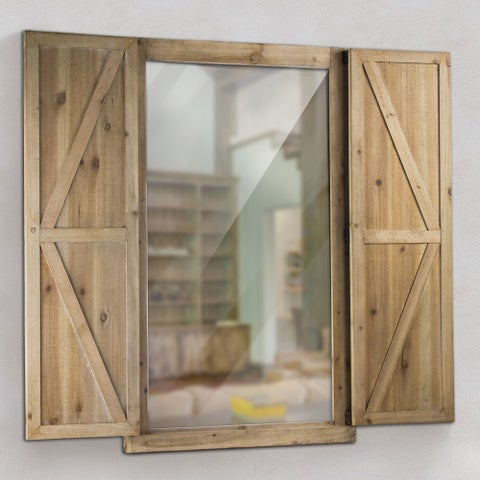 Shuttered Wall Mirror with Rustic Wooden Frame Farmhouse Decor