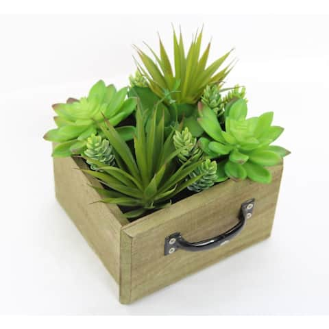 Artificial Desktop Potted Succulents Plants With Wood Planter, Green For Home Office Décor, Gift and Arrangement Decoration