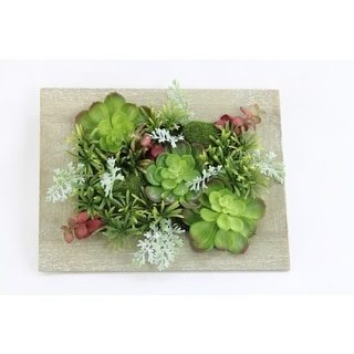 Artificial Succulent Plants Rustic Wooden Picture Frame For Home office Front Door Wreath, Wall Hanging Arrangement Decoration