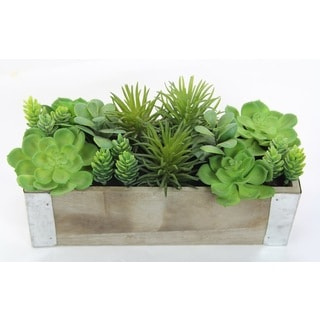 Artificial Desktop Potted Mixed Succulents Plants With Rectangular Wood Planter, Green For Home Office Décor Or As A Gift