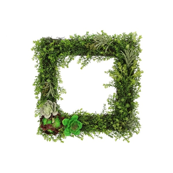 """16"""" artificial succulents plants wall square wreath green for home"""