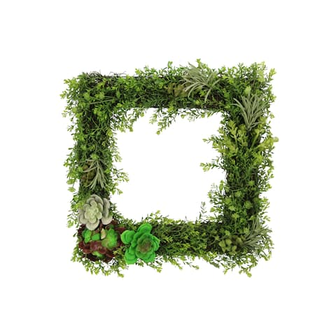 "18"" Artificial Succulents Plants Wall Square Wreath Green"